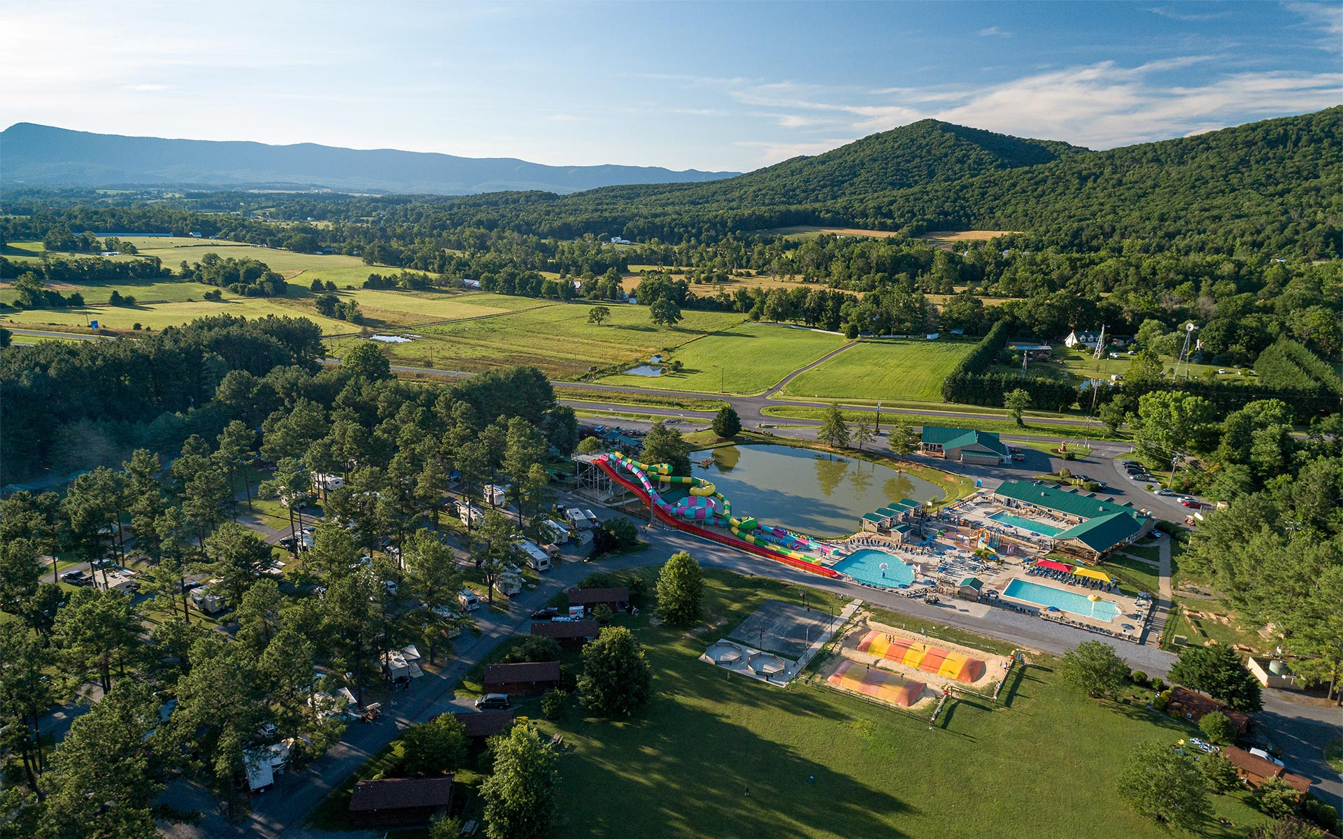 Aerial Image of Yogi Bear's Jellystone Park™ Camp-Resort: Luray, Virginia.